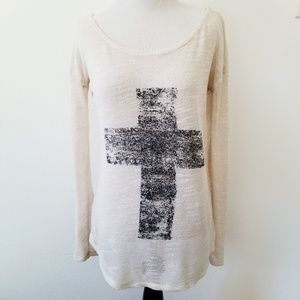 Weavers Sheer Cross Scoop Neck Sweater